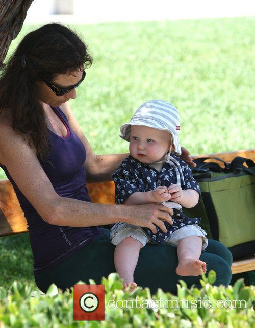 Minnie Driver and son Henry in Cross Creek...