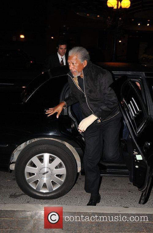 Morgan Freeman arriving at the screening for Prom...