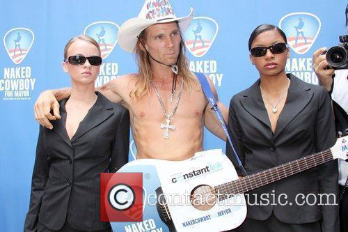 Naked Cowboy aka Robert Burck held a press...