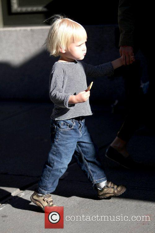 Walking in Soho with his mother Naomi Watts