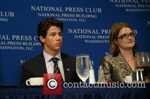 Nick Jonas addresses a National Press Club luncheon...