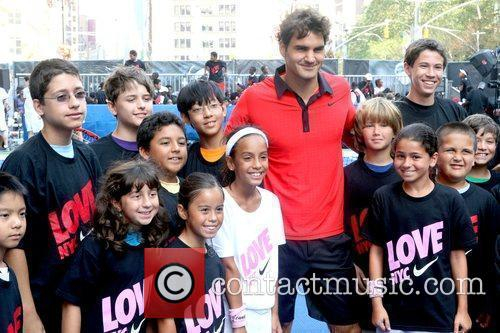 Roger Federer and City Youth 5