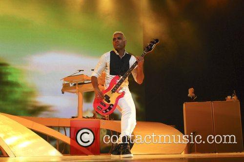 Bassist Tony Kanal No Doubt performing in concert...