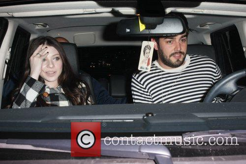 Michelle Trachtenberg and her boyfriend outside Nobu restaurant...