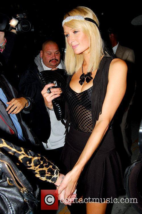 Paris Hilton  leaving Nobu restaurant with her...