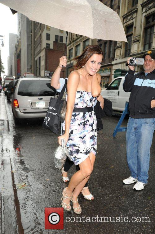 Jessica Stroup arriving at Bryant Park Mercedes-Benz IMG...