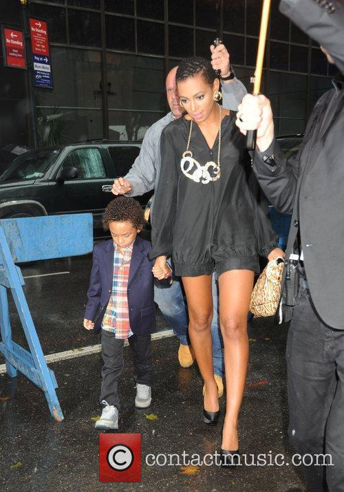 Solange Knowles with her son Daniel arriving at...