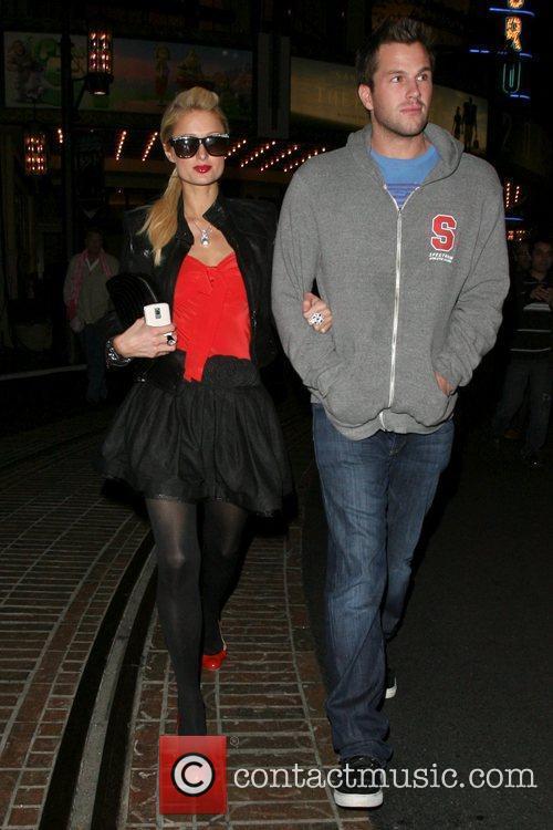 Paris Hilton and boyfriend Doug Reinhardt leave a...