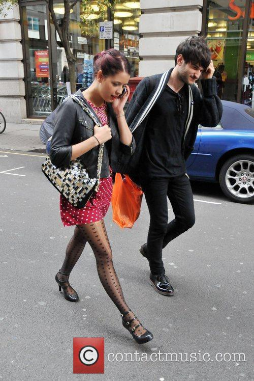 Peaches Geldof leaves her hotel with a friend....