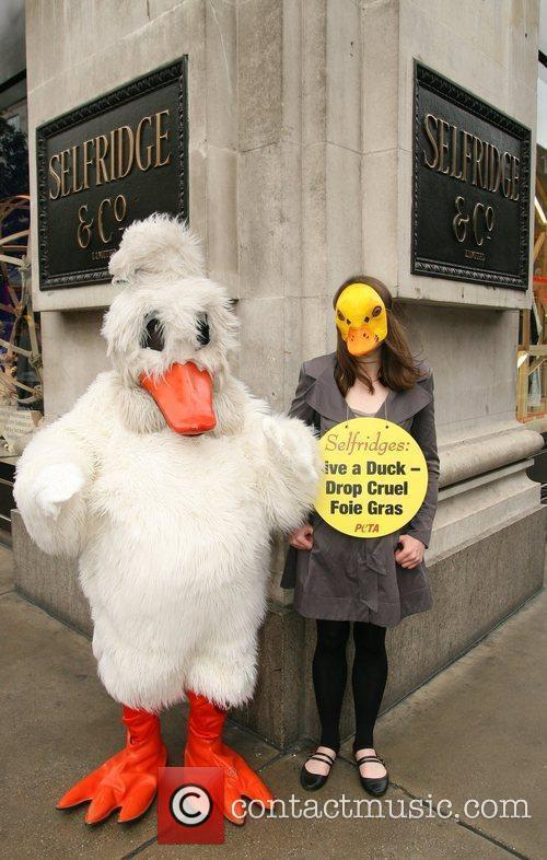 PETA demonstrators dressed as ducks protest outside Selfridges...