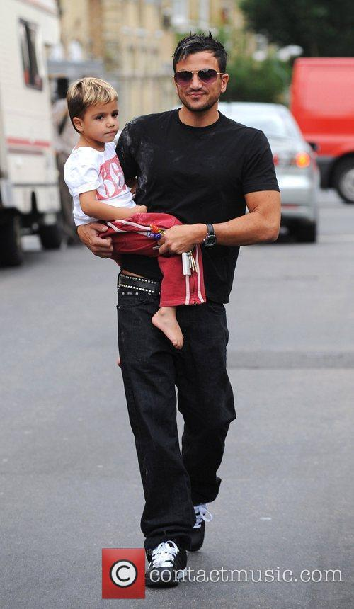 Peter Andre with Junior Andre heading to a...