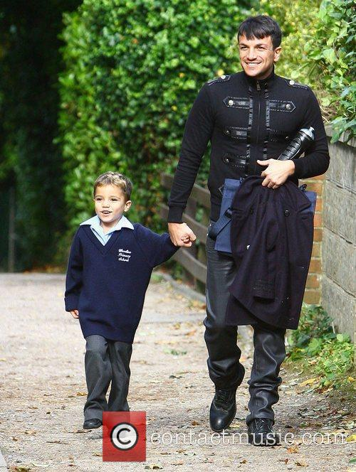 Peter Andre picking his son Junior Andre up...