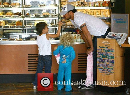 Peter Andre at Starbucks with his children Princess...