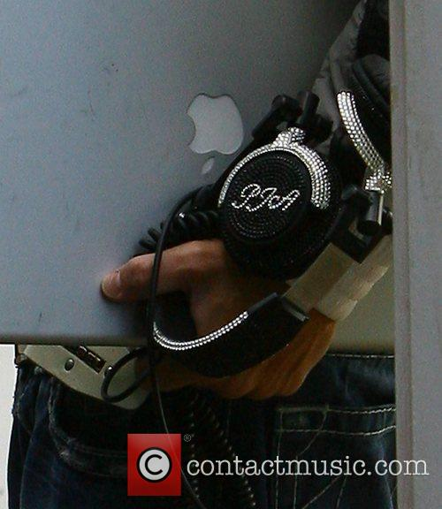 Peter Andre's embellished headphones Peter Andre leaving his...