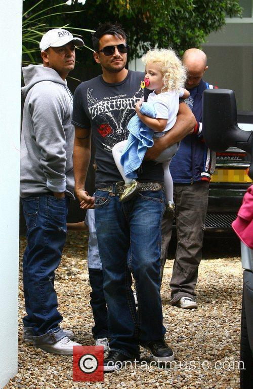 Peter Andre, with his children Princess Tiaamii leaving...