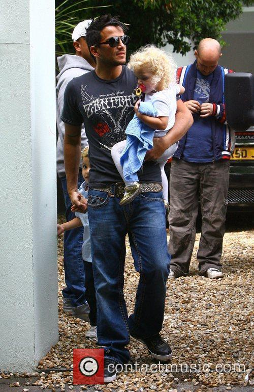 Peter Andre, with his daughter Princess Tiaamii leaving...