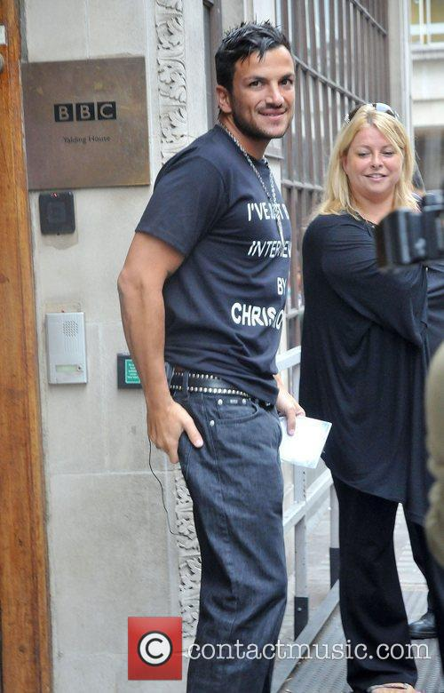 Peter Andre leaving Radio One studios after promoting...