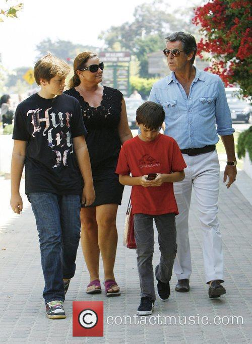 Pierce Brosnan having lunch with his family, sons...