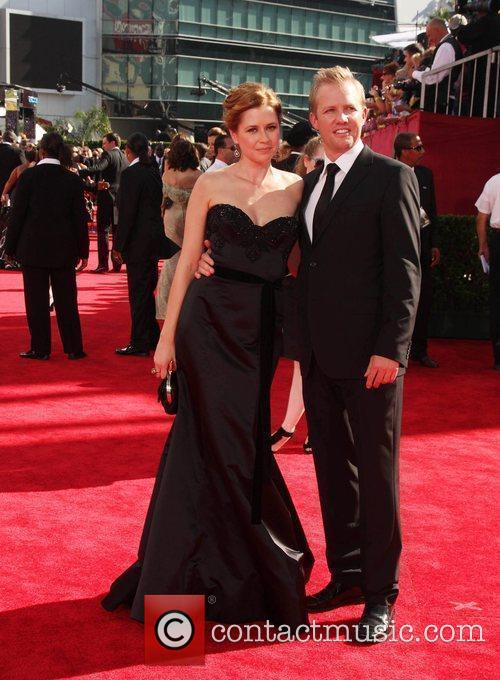 Jenna Fischer and guest 61st Primetime Emmy Awards...