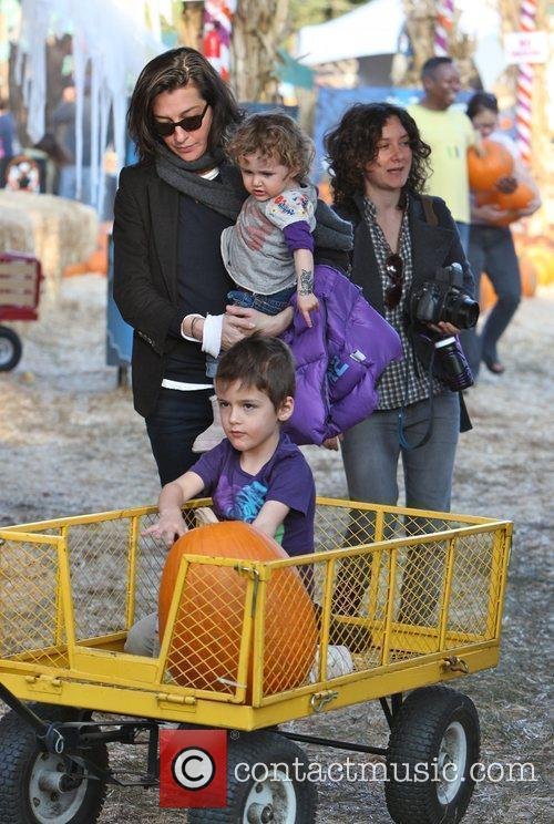 Sara Gilbert visits Mr. Bones Pumpkin Patch in...