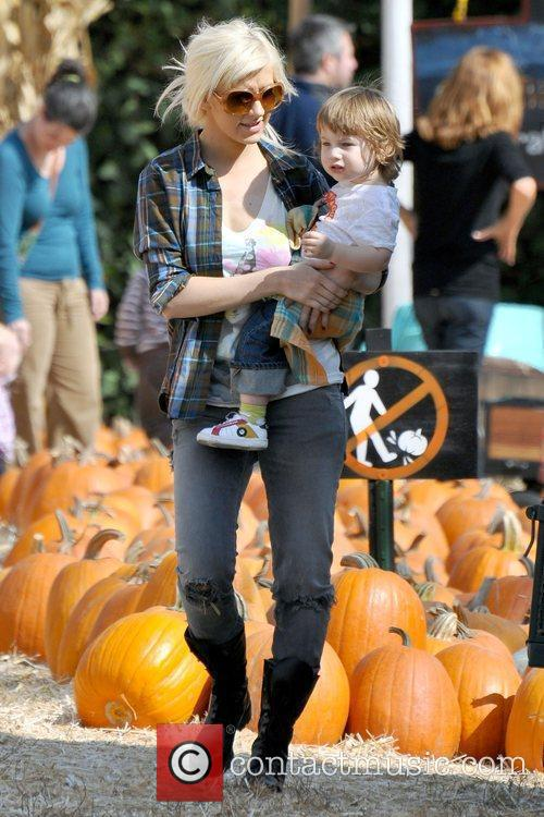 Christina Aguilera and son Max visits Mr. Bones...