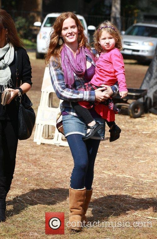 Rebecca Mader visits Mr. Bones Pumpkin Patch in...