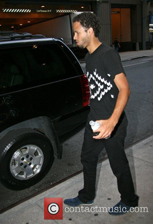 Outside his Manhattan hotel