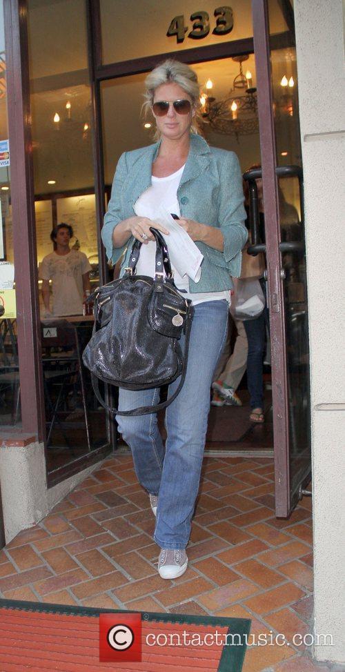 Rachel Hunter  leaving the Deli Restaurant after...