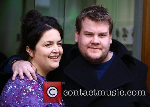 James Corden and Ruth Jones outside the BBC...