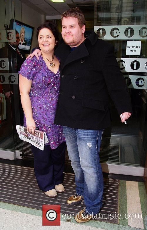 Ruth Jones and James Corden outside the BBC...