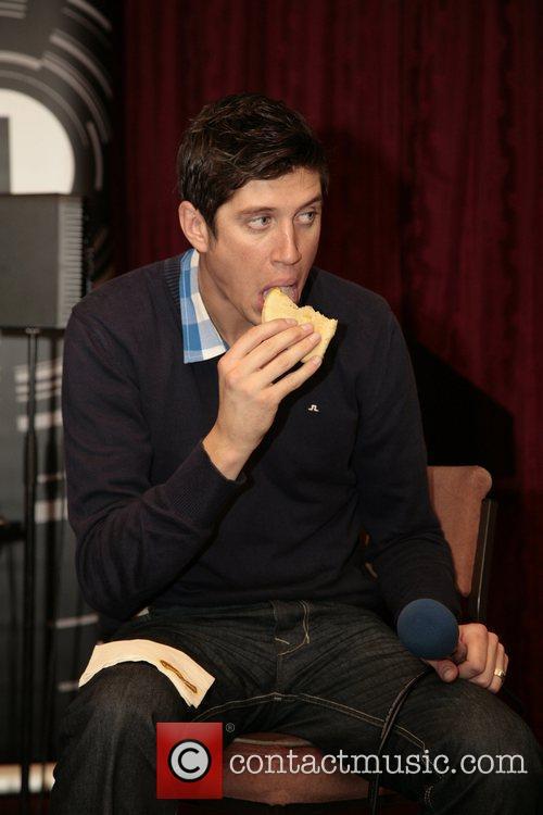 Vernon Kay with a pie BBC Radio One...