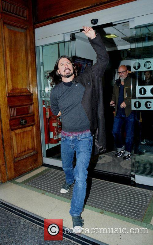 Dave Grohl leaving the BBC Radio One studios...