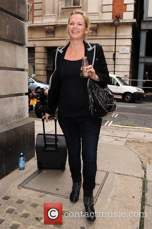 A pregnant Zoe Ball leaving Radio Two studios