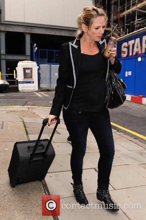 A pregnant Zoe Ball leaving Radio Two studios...