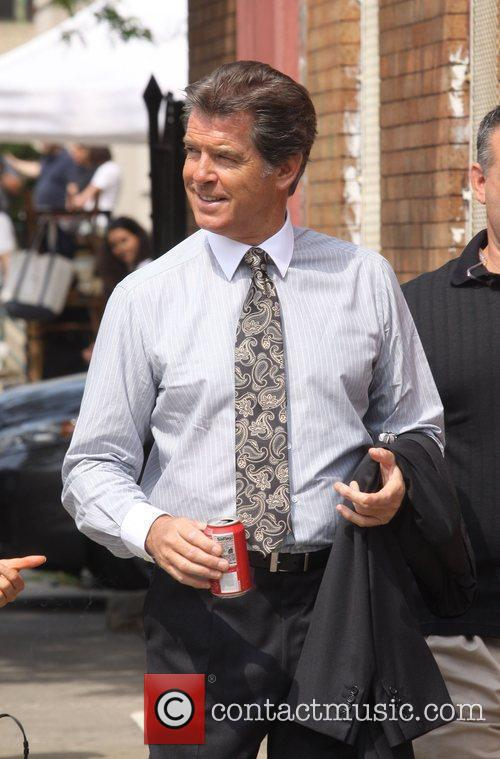 Pierce Brosnan on the set of her new...