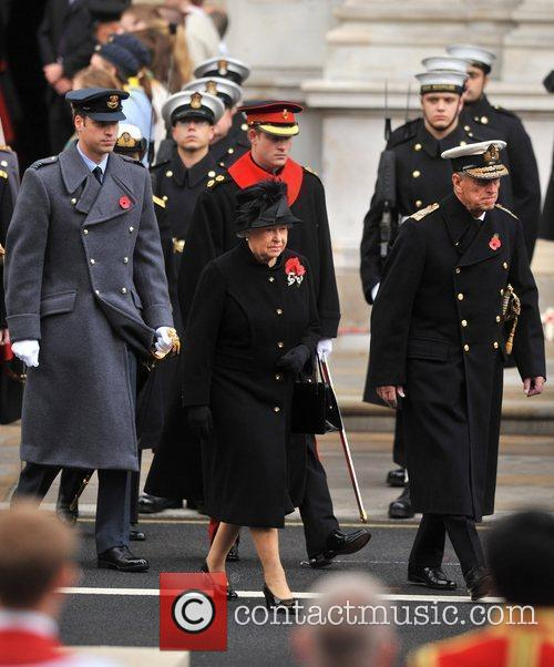 The Queen, Prince Harry and Prince William Remembrance...