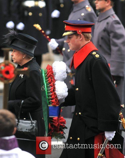 The Queen and Prince Harry Remembrance Sunday celebrations...