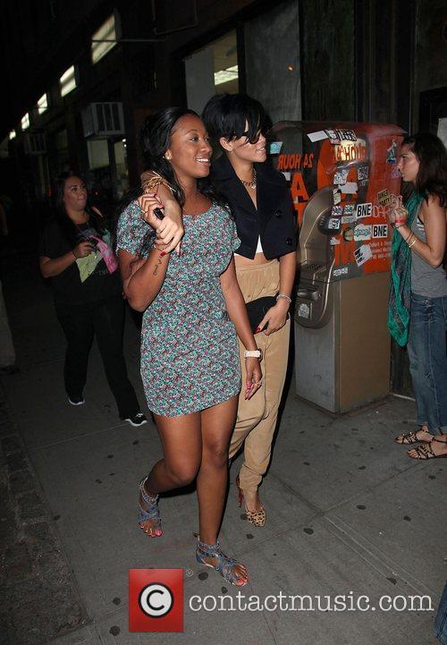 Rihanna leaving a Midtown Manhattan building after a...