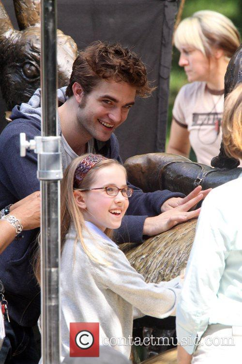 Robert Patterson on set of Remember Me....
