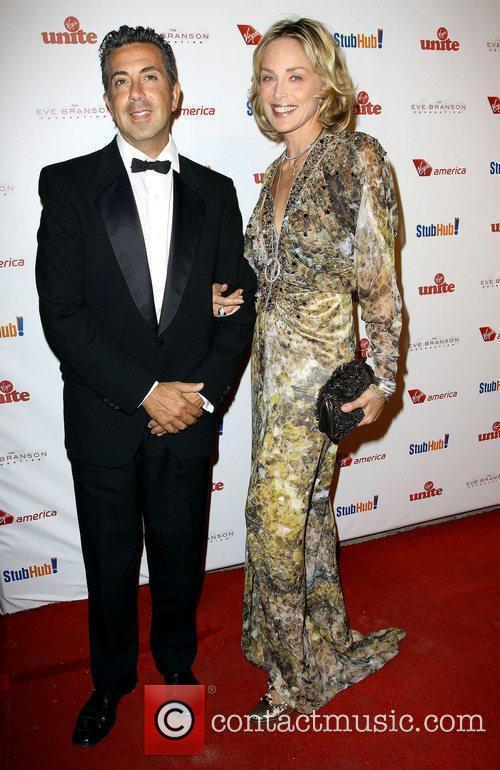 Sharon Stone and guest Sir Richard Branson and...