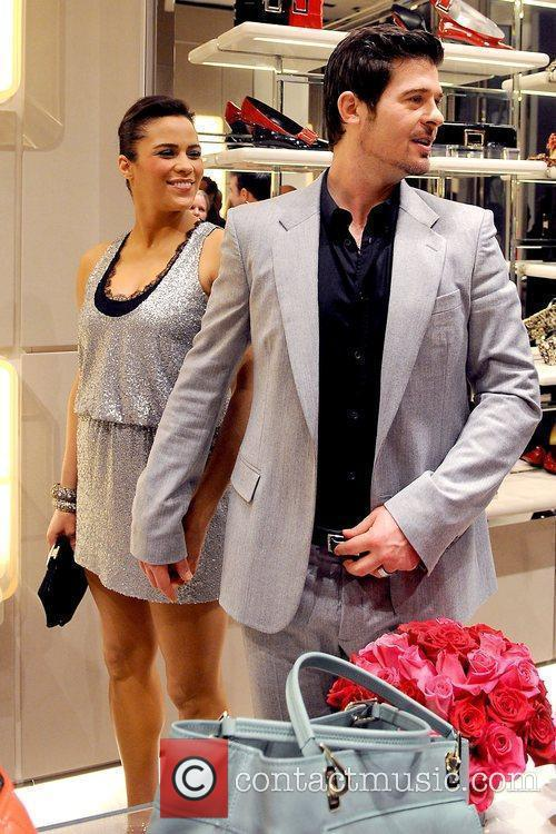 Paula Patton and Robin Thicke Roger Vivier Boutique...