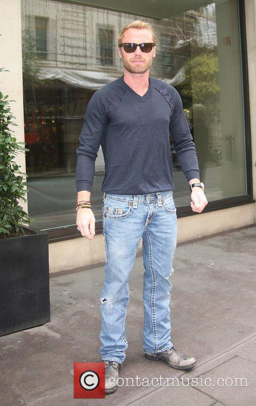 Ronan Keating outside his hotel in Central London...