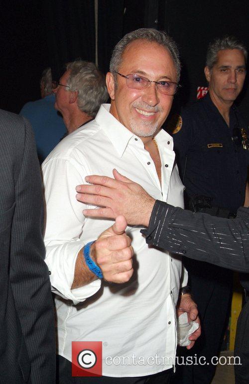 Emilio Estefan backstage during Ruben Blade concert at...