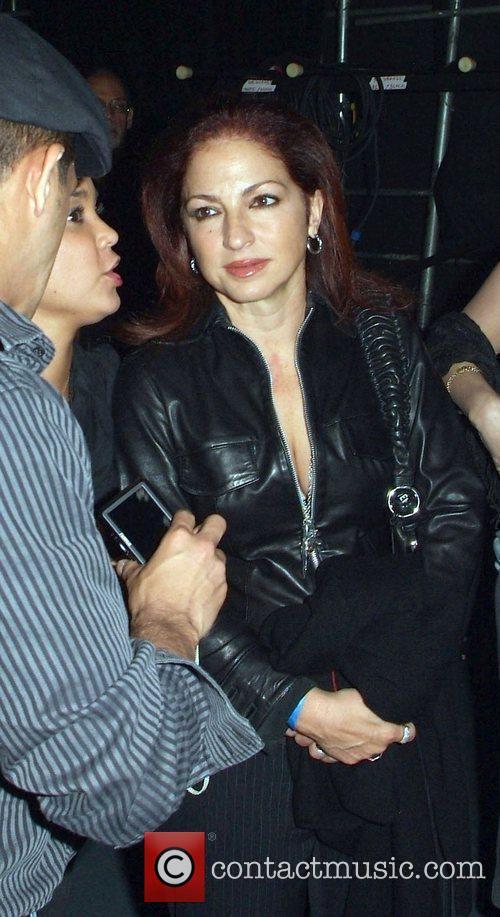 Singer Gloria Estefan backstage during Ruben Blade concert...