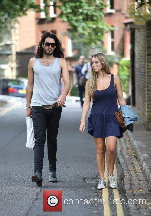 Russell Brand, Laura Gallacher Go Shopping In Hampstead and Then Return To His Home 4