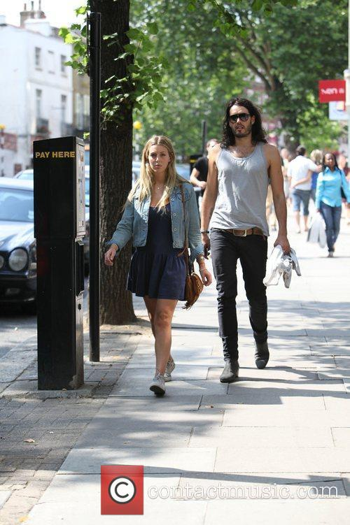 Russell Brand, Laura Gallacher Go Shopping In Hampstead and Then Return To His Home 3