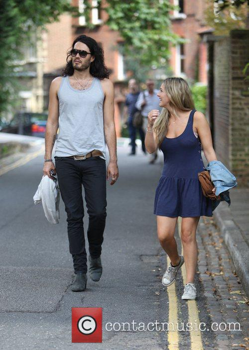Russell Brand, Laura Gallacher Go Shopping In Hampstead and Then Return To His Home 11