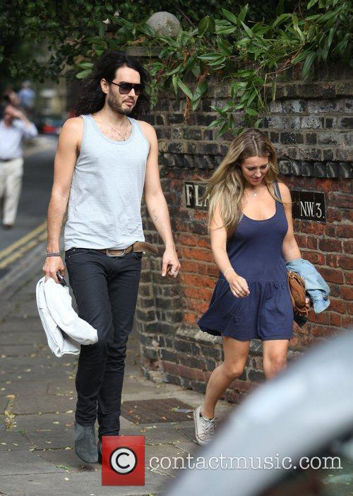 Russell Brand, Laura Gallacher Go Shopping In Hampstead and Then Return To His Home 6