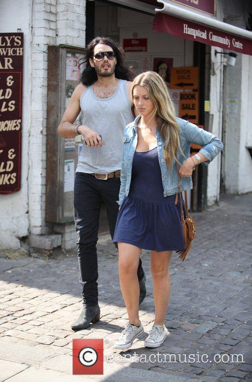 Russell Brand, Laura Gallacher Go Shopping In Hampstead and Then Return To His Home 7