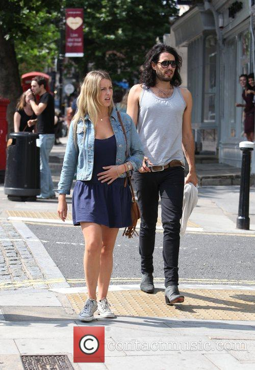 Russell Brand, Laura Gallacher Go Shopping In Hampstead and Then Return To His Home 10